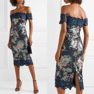 MARCHESA NOTTE Off Shoulder Lace sequin dress